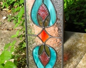 NEW Stained Glass Mini Panel Teal with Pressed Glass Accents