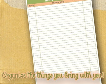 Going Somewhere / Planner Page / Form / DIY/ Printable / 8.5 x 5.5