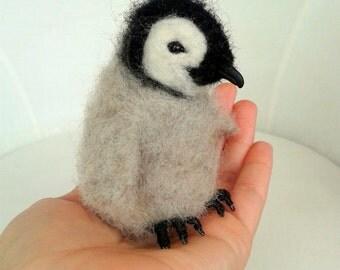 Ooak Artist Needle Felted Emperor Penguin Hatchling Chick