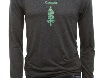 Oregon Fir| soft lightweight| men's unisex Long Sleeve Tshirt| Size S - XXL| Pine tree| Travel tees| hometown tees| gift for her and him.