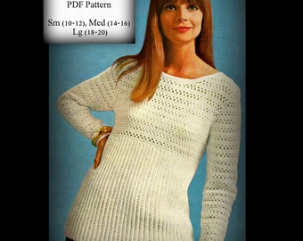 Crochet Pullover Sweater - Tunic Over Blouse - Size 10 to 20 - PDF 1271918
