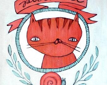 Patience Cat - Virtue Kitty - Cute Cat Illustration Print - Orange Cat Snail Blue