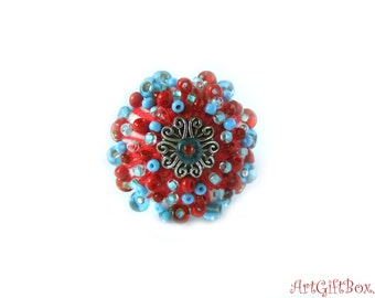 ribg with beads_red ring_blue ring_wool ring_Felted  wool ring with beads red blu color_christmas gift