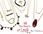 Valentines Jewelry Gifts, Jewelry for Valentines Day, Sweet Heart Jewelry, Heart Necklace, Love Necklace, Arrow Necklace, Garnet Necklace