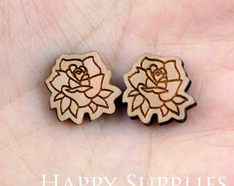 4pcs (SWC97) DIY Laser Cut Wooden Rose Charms