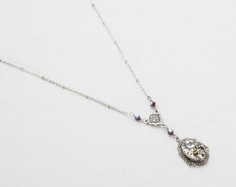 Steampunk Necklace Vintage watch movement Victorian style silver leaf & flower pendant, red garnet Swarovski crystal Statement necklace