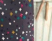 RESERVED 2 1/2 Yards Organic Star Fabric By the Yard Valentines Grey Purple Mustard Pink Plus Cloud9 Fabrics Bright Bold Retro Geometric Dot