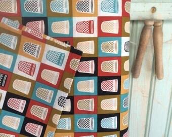 Organic Thimble Fabric Half Yard Retro Chic Don Thimbles Mad Mend for Cloud9 Fabrics Bright Bold Retro Geometric Dot