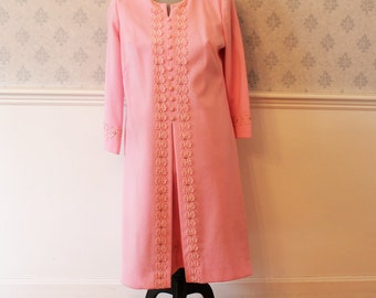 Vintage 1960s to 1970s Pink Floral Lace Rhinestone Dress