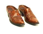 Western Snip Toe Mules // Ariat Brown Lizard Embossed Leather (8 B)