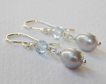 Swiss Blue Topaz and Pearl Earrings - Sterling Silver Beadwork Earrings Dangle Earrings Drop Earrings Beaded Earrings