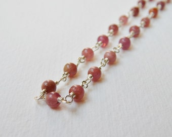 Pink Tourmaline Necklace - Sterling Silver Rosary Chain Beaded Necklace Beadwork Necklace 18 inch Bead Necklace