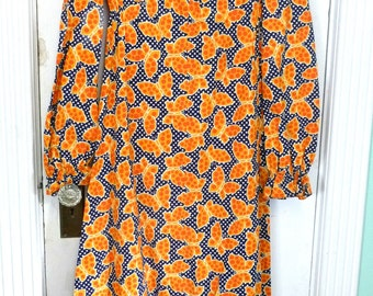 Vintage Full Length Cotton Fabric Butterfly Print Dress 1970s
