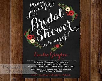 Chalkboard Bridal Shower Invitation - Winter Bridal Shower Invitation- Christmas Bridal Shower Invite - Printable Invitation Design