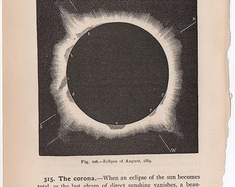 1884 ECLIPSE print original antique astronomy lithograph - eclipse of august 1869