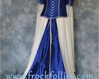 "Medieval Wedding Gown, Elvish Dress, Renaissance Gown, Pre-Raphaelite, Corset, Medieval Dress, Renaissance Dress""Tamara"""