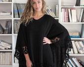 Plus size black color merino wool poncho wrap tunic L size