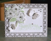 "Handmade Birthday Card - 4.25"" x 5.5"" - Stampin Up Perfectly Penned - Stamped and Die-Cut Flowers & Butterflies"