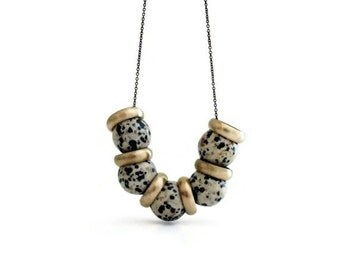 Dalmatian Jasper Necklace / Long Chain Necklace / Gemstone Necklace / Brass Ring Necklace