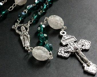 Teal Rosary. Crystal Rosary. Catholic Rosary. Silver Rosary. Handmade Rosary. Traditional Rosary. Prayer Beads. Handmade Rosaries.