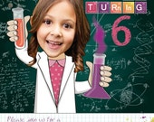 Science Birthday Party Invitation for a girl or boy - Personalized with your photo DIGITAL FILE