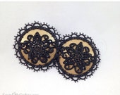 ON SALE RTW Gold Satin Floral Lace Rhinestone Nipple Pasties - Size M - SugarKitty Couture