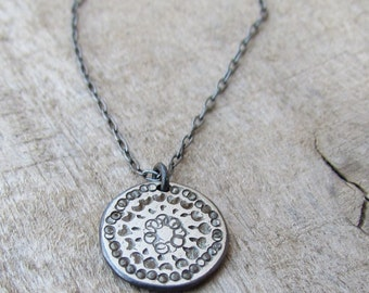 Oxidized Silver Disc Necklace, Hammered Silver Disc Necklace, Simple Silver Necklace, Disc Necklace