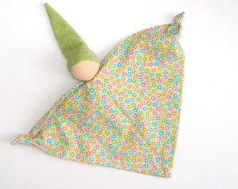 Teething Blanket doll gift for baby waldorf classic toy  - green whith printed flowers, LaFiabaRussa