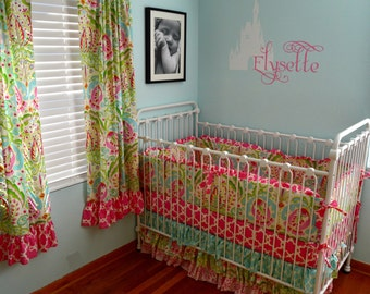 SALE- Upgrades Included- 3 pc Kumari Garden Crib Bedding with Bumpers