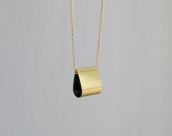 Gold teardrop necklace, brass teardrop pendant, gold chain, geometric, littleglamour, simple, minimal, modern jewelry - Andrea