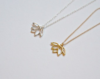 Lotus necklace, gold lotus pendant, sterling silver lotus flower charm, gold pendant necklace, yoga, simple necklace, lotus jewelry - Anouk