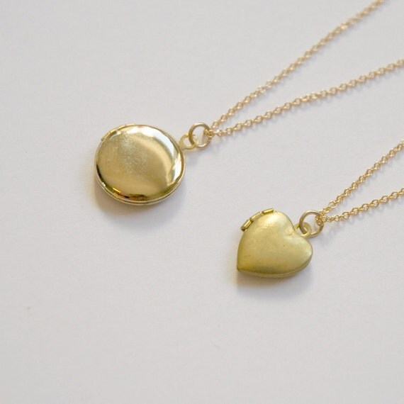 Gold locket necklace - shiny round or vintage heart - gift for her - small brass locket - sentimental mother mom - gold filled chain - Sasha