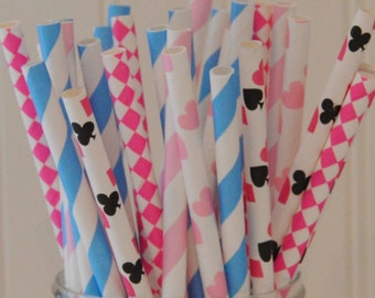 Paper Straws, Pink Alice In Wonderland Party Paper Straws, Mad Hatter Tea Party, Queen Of Hearts, Drink Straws, Heart Straws, Alice Birthday