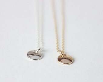 """Tiny Disc Necklace - 14K Goldfilled OR 925 Sterling Silver - """"Lumiere"""" Necklace"""