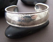 Estate Sterling Cuff - Engraved Sterling Silver Cuff Bracelet