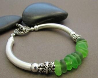 Sandpiper Bracelet - Genuine Sea Glass with Sterling Silver Curved Tube Bracelet