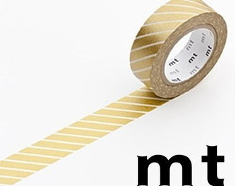 Stripe Gold, Japanese mt Washi Paper Masking Tape, Adhesive Tape, Collage, Card Decoration, Journal Decor Sticker, Kawaii Planner, MT01D144