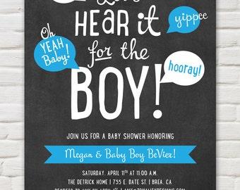 Baby Boy Baby Shower Invitation: Chalkboard Baby Shower Invite – Kraft Paper Invite – Let's Hear It for the Boy (DIY Printable PDF Invite)