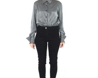 90s Black Satin Pinstripe Blouse Long Sleeve Button Down Shirt Black White Striped Shirt Office Work Professional Silky Oversize Cuffs (M)