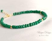 Genuine emerald bracelet, gold filled precious bracelet, green bracelet, gift for her, emerald jewelry