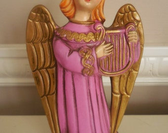 Christmas Angel Playing the Harp