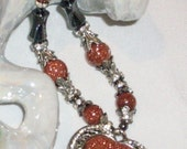 Artisan Heart Necklace GoldStone rich in copper and Hemitite with silver Reversible Heart          Free Shipping in the USA