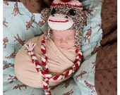 Baby boy hat, baby girl hat, crochet Sock Monkey hat, Sock monkey, photo prop, baby shower gift, coming home outfit, monkey nursery, crochet