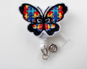 Autism Awareness Butterfly - ID Badge Holder - ID Badge Reel - Teacher Badge Reel - Office Personnel Badge Reel - Nursing Badge - Nurse Gift