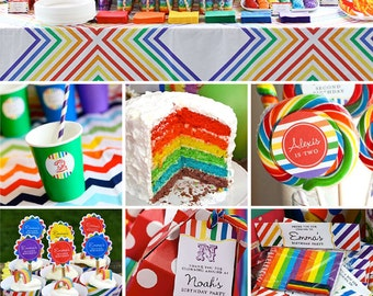 Rainbow birthday party printable decor kit - Over 45 pages of colorful fun!
