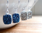 Druzy Earrings, Silver Druzy Earrings, Druzy Jewelry, Sparkly Jewelry, Metallic Jewelry, Holiday Jewelry