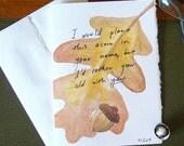 Hobbit Acorn Greeting Card - Acorn - Oak Leaf - Geek Love - Anniversary - Friendship