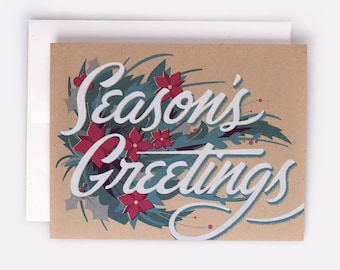 "Season's Greetings Holiday Card - 100% Recycled French Paper Speckletone Kraft, Vintage Inspired, 4.25"" x 5.5"" A2"
