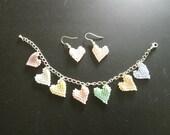 JEWELRY SALE! Pastel Hearts, Beaded Charm Bracelet and Earrings Set
