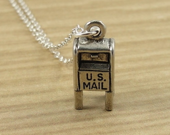 Postal Mailbox Necklace, Silver Mail box Charm on a Silver Cable Chain